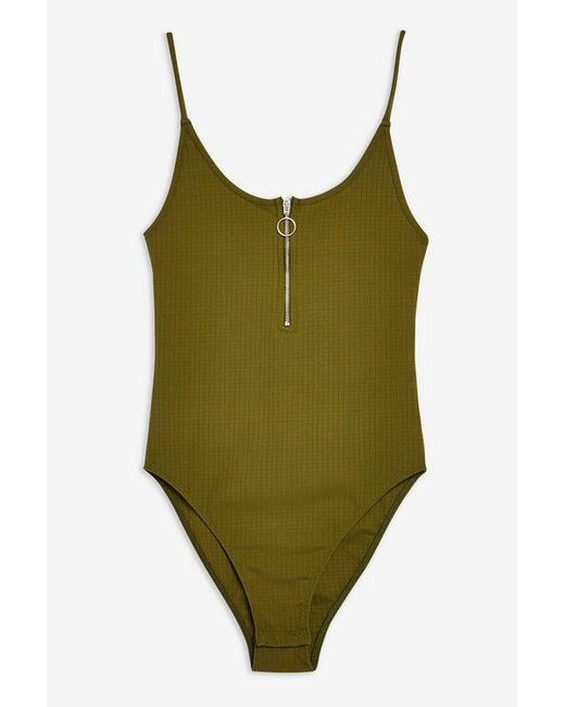 0f8a4ca544d ... TOPSHOP - Green Zip Plunge Bodysuit - Lyst