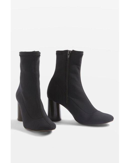 TOPSHOP - Black Match Sock Boots - Lyst
