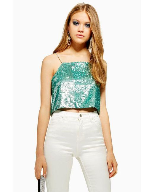 e6b603169f6010 TOPSHOP - Green Sequin Crop Camisole - Lyst ...