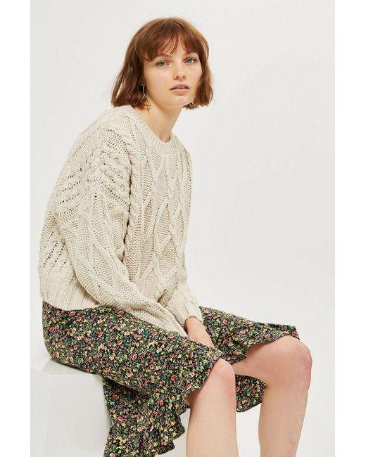 TOPSHOP - Natural Tall Cable Knit Crop Jumper - Lyst