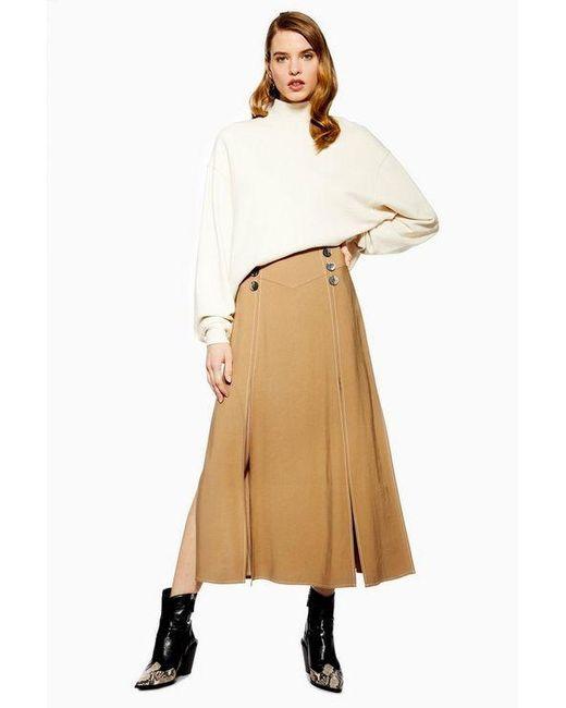 b5ea45acd5 TOPSHOP - Multicolor Petite Button Midi Skirt - Lyst ...