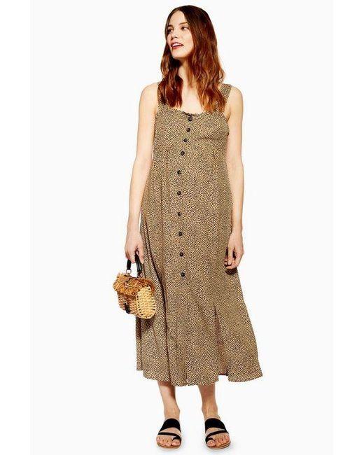 a30684618dc1b TOPSHOP - Brown maternity Animal Midi Dress - Lyst ...
