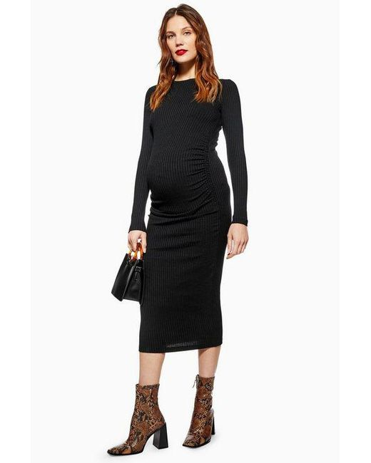 TOPSHOP - Black maternity Ruched Side Bodycon Dress - Lyst