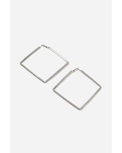 TOPSHOP - Metallic Xl Rhinestone Square Hoop Earrings - Lyst