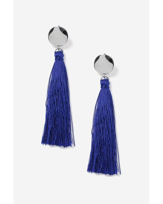 TOPSHOP | Blue Stud Tassel Drop Earrings | Lyst
