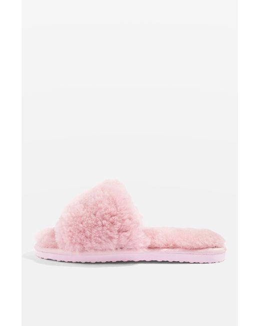 TOPSHOP | Pink Cleo Sheepskin Slipper Sliders | Lyst