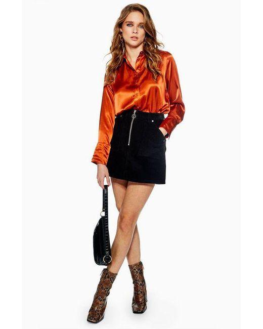 4d483de3e4 TOPSHOP - Black Petite Corduroy Zip Skirt - Lyst ...