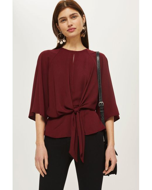 TOPSHOP - Red Slouchy Knot Front Blouse - Lyst