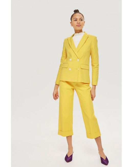 TOPSHOP - Yellow Cropped Suit Trousers - Lyst