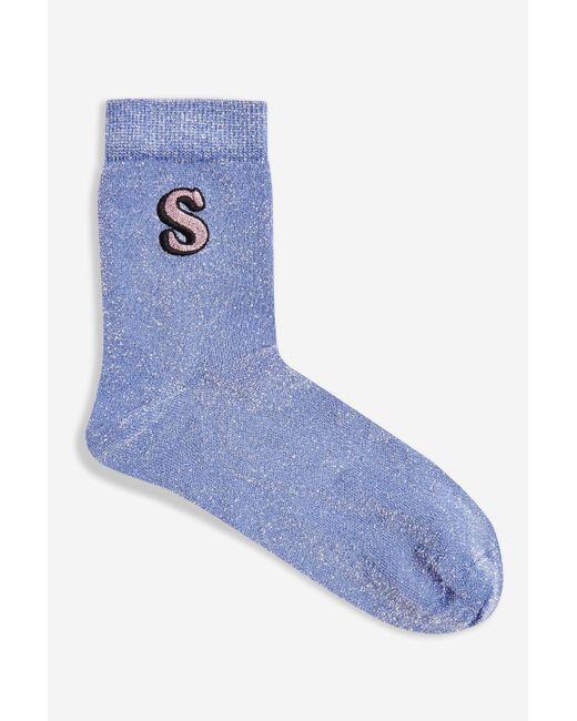 TOPSHOP Purple Glitter Embroidered S Socks