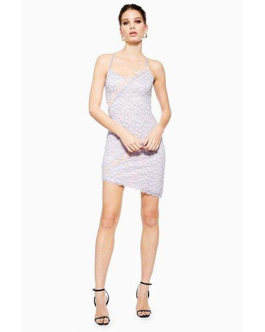 13b5f6e372 TOPSHOP - Purple Lace Trim Dress - Lyst ...