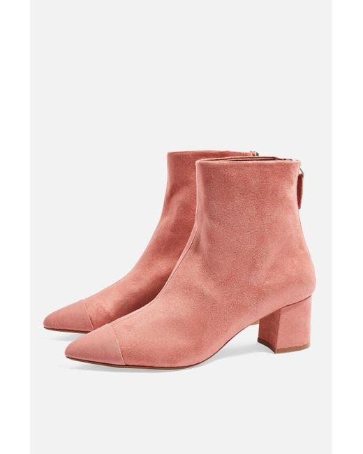 TOPSHOP - Pink Bambi Toe Cap Boots - Lyst