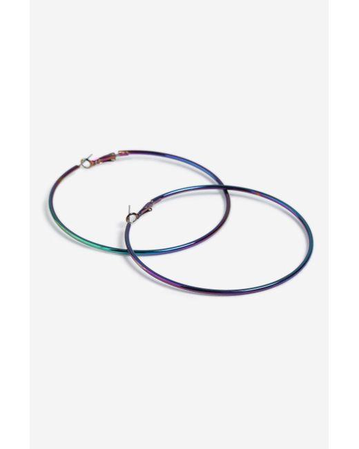 TOPSHOP - Metallic petrol Hoop Earrings - Lyst