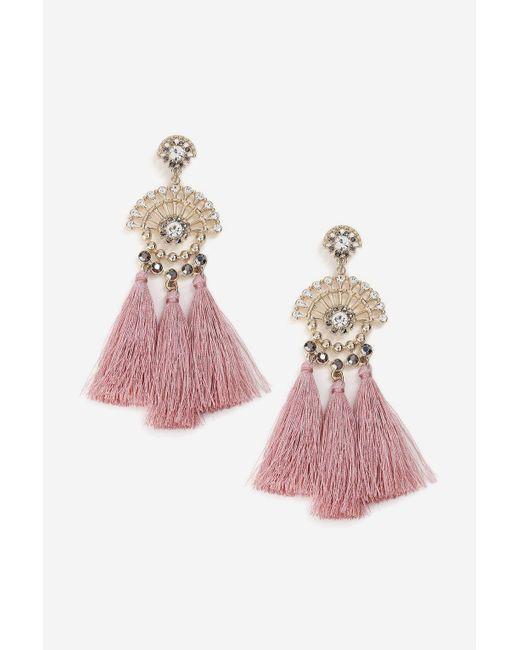 TOPSHOP - Pink Rhinestone Tassel Drop Earrings - Lyst