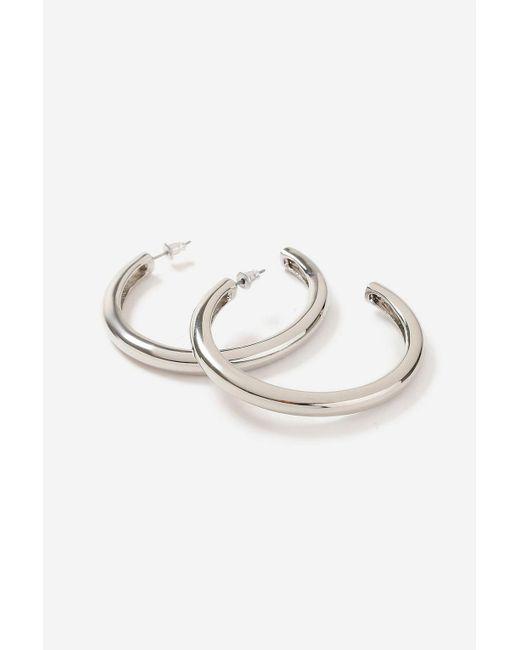 TOPSHOP - Metallic Smooth Thick Hoop Earrings - Lyst