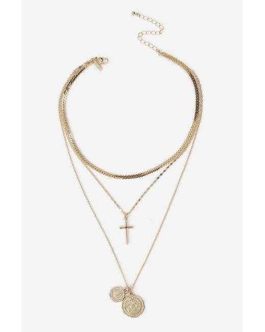 TOPSHOP - Metallic Coin And Cross Multi-row Necklace - Lyst