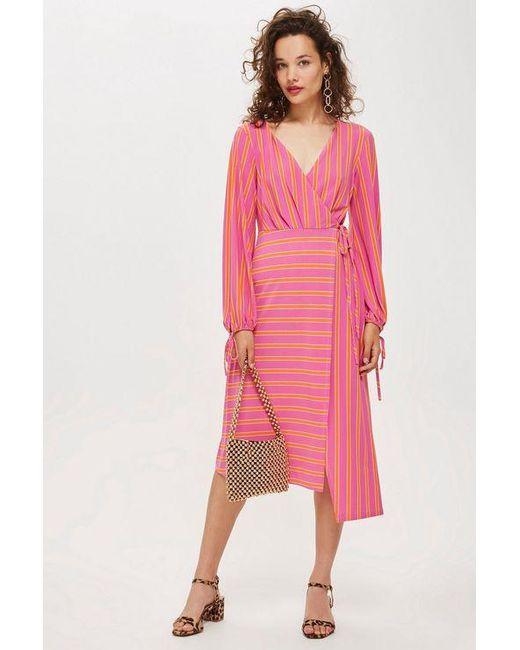 Topshop Stripe Wrap Midi Dress In Pink Lyst