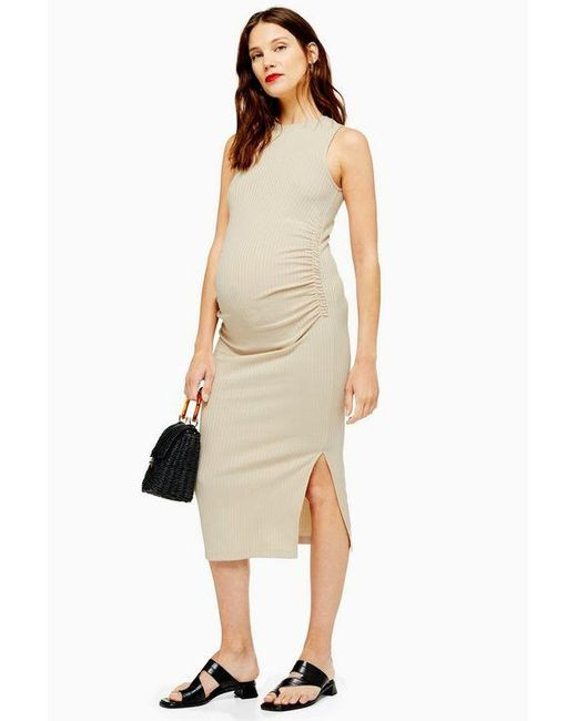 ba7aa0cf28c88 TOPSHOP - Natural maternity Ruched Side Bodycon Dress - Lyst ...