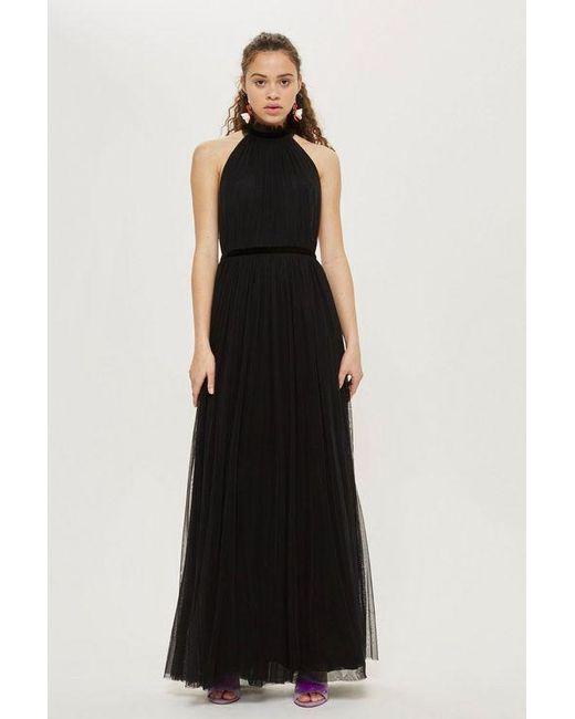 TOPSHOP - Black halter Maxi Dress - Lyst