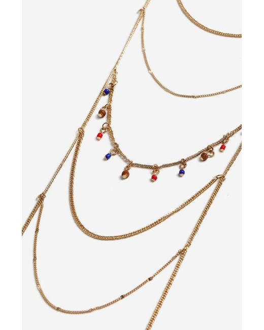 TOPSHOP - Multicolor Beaded Drop Ladder Necklace - Lyst