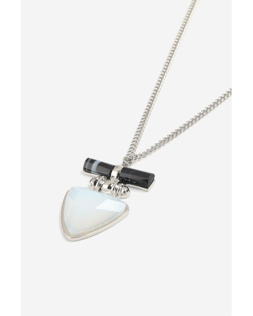 TOPSHOP - Metallic Triangle Long Pendant Necklace - Lyst