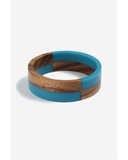 TOPSHOP - Green Resin And Wooden Bangle - Lyst