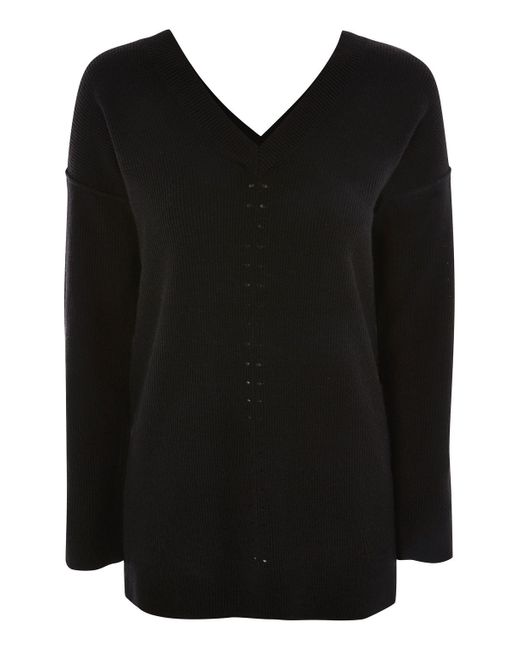 TOPSHOP   Black Knitted Pointelle Jumper   Lyst