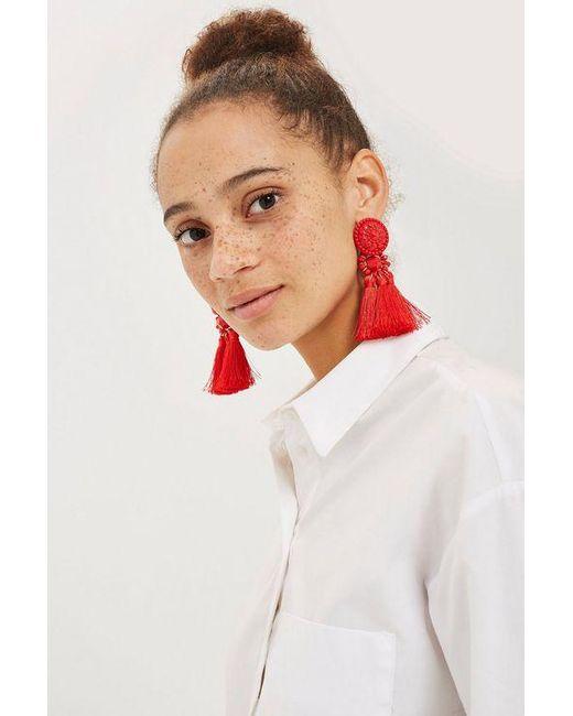 TOPSHOP - Red Bead And Tassel Drop Earrings - Lyst