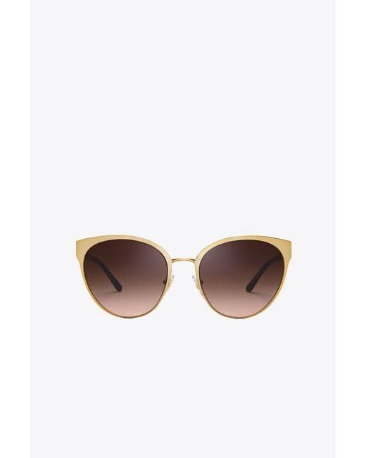 Tory Burch | Brown Logo Pilot Sunglasses | Lyst