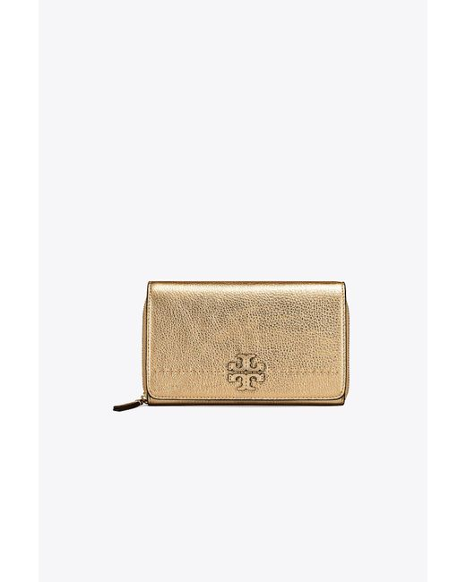 Tory Burch - Mcgraw Metallic Flat Wallet Cross-body - Lyst