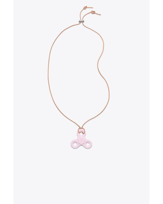 Tory Burch - Multicolor Color-blocked Logo Spinner Necklace - Lyst