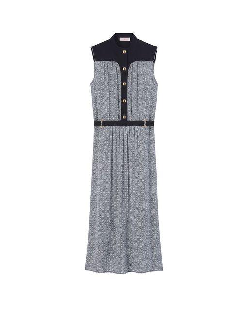 Tory Burch | Blue Theo Snake-print Silk Dress | Lyst