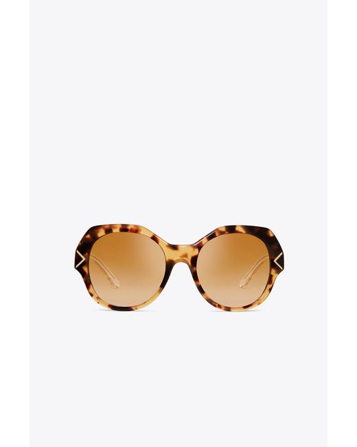 Tory Burch - Brown Chevron Sunglasses - Lyst