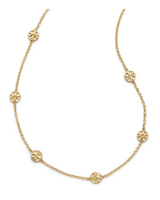 Tory Burch | Metallic Logo Necklace | Lyst