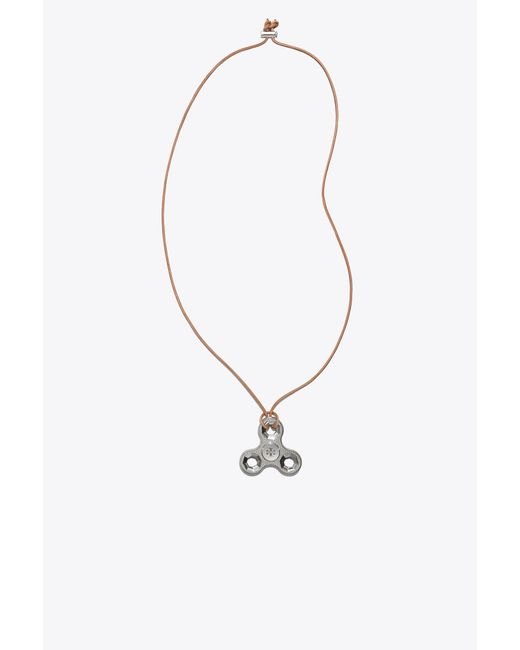 Tory Burch - Multicolor Logo Spinner Necklace - Lyst