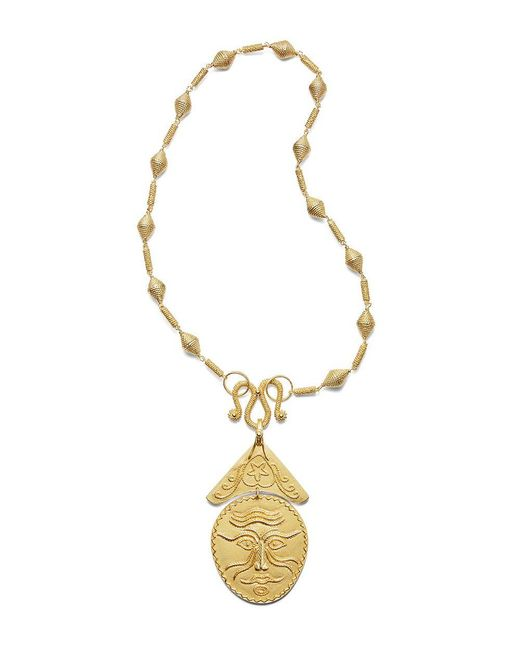 Tory Burch | Metallic Sculptural Face Statement Necklace | Lyst