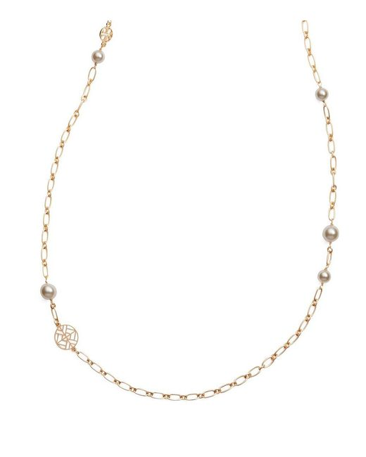 Tory Burch | Metallic Crystal-pearl Chain Rosary Necklace | Lyst