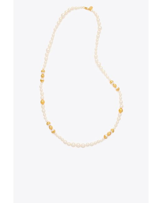 Tory Burch | Multicolor Capped Crystal Pearl Long Necklace | Lyst