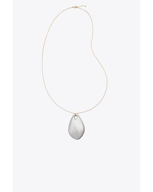 Tory Burch - Metallic Wavy Pendant Necklace - Lyst