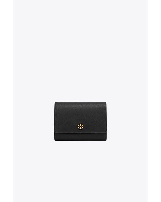 Tory Burch | Black Robinson Medium Flap Wallet | Lyst