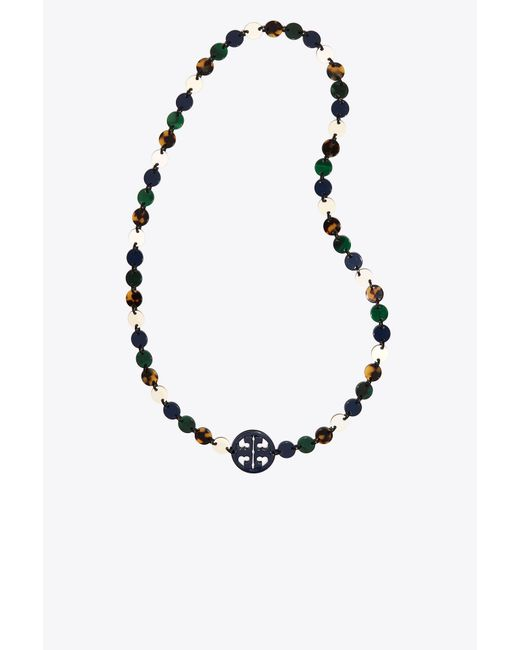 Tory Burch - Blue Resin Logo Necklace - Lyst