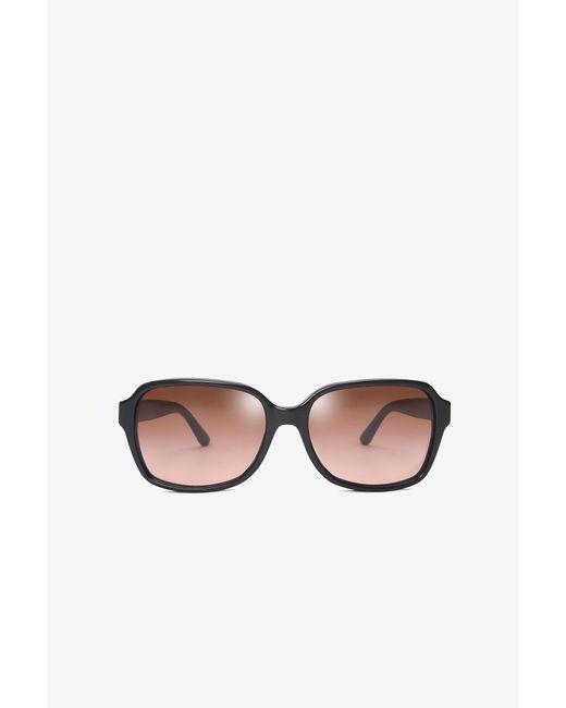 Tory Burch - Black Pierced-t Rectangle Sunglasses - Lyst