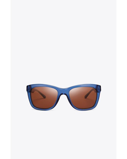Tory Burch - Blue Rectangle Stacked T Pierced - Lyst