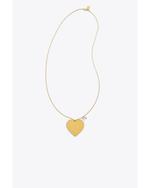 Tory Burch - Metallic Heart Locket Pendant Necklace - Lyst