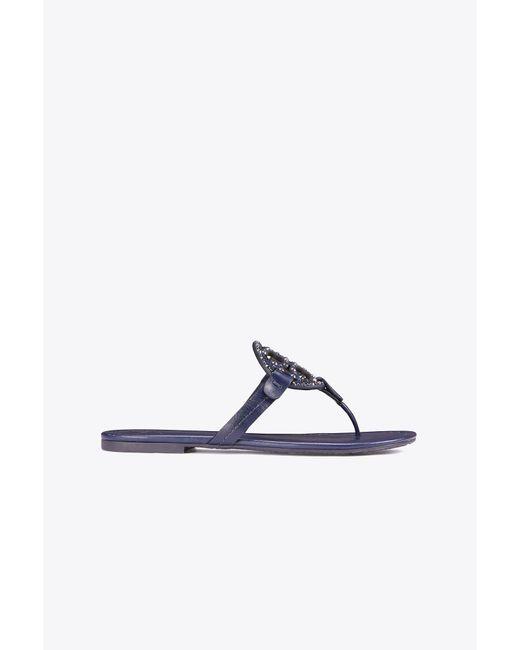 Tory Burch | Blue Miller Embellished Sandal, Leather | Lyst