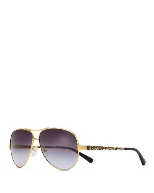 Tory Burch | Metallic T-print Aviator Sunglasses | Lyst