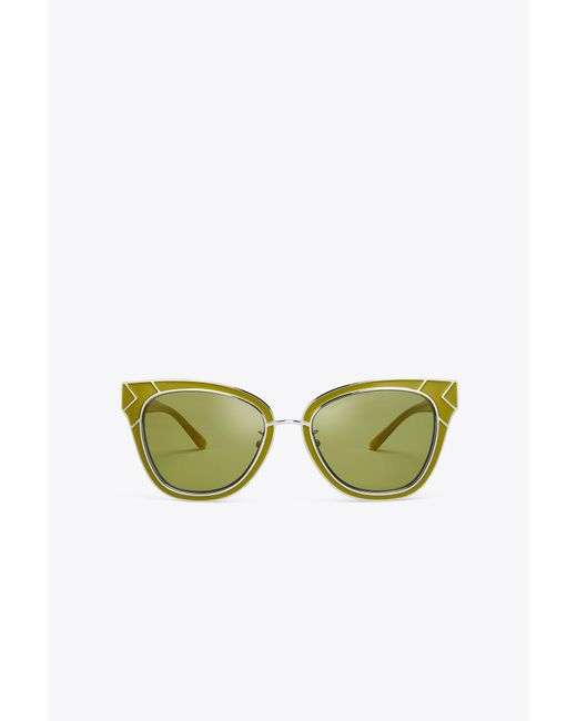 Tory Burch - Green Metal-trim Sunglasses - Lyst