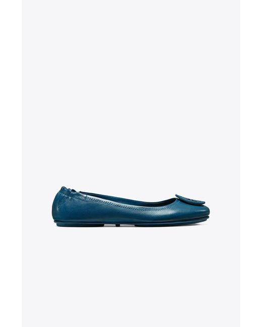 Tory Burch - Blue Minnie Travel Ballet Flat, Leather - Lyst