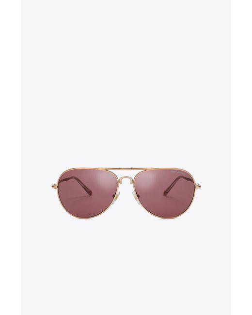 Tory Burch   Pink Foldable Pilot Sunglasses   Lyst