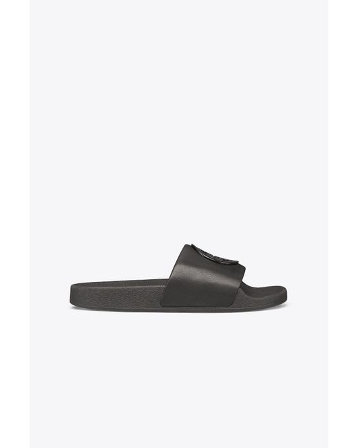 Tory Burch - Black Women's Lina Leather Pool Slide Sandals - Lyst